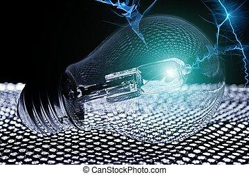 照ること, 黒い ライト, バックグラウンド。, 電球, 解任, 前部
