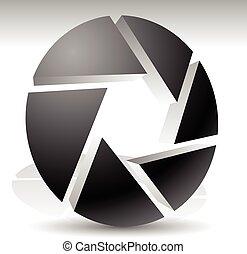 照像機, 快門, 由于, 孔徑, 為, 攝影, concepts., 矢量