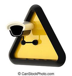 照像機, cctv, 警報, 簽署, 被隔离