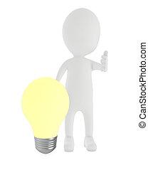 照明, 燈泡, 3d, 提出, 人, 字