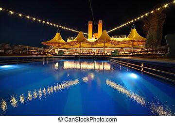 照明, 甲板, evening., 船, 池, 游泳
