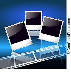 照片框架, 以及, filmstrip