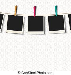 照片框架, 由于, clothespins