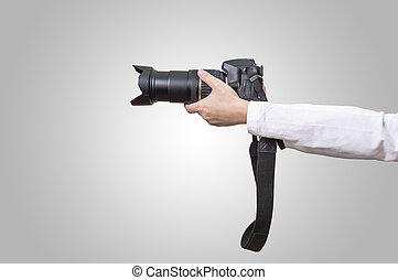 照片照像機, 在, 手