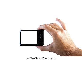 照片照像機, 在, 手, 被隔离, 在懷特上, 背景。