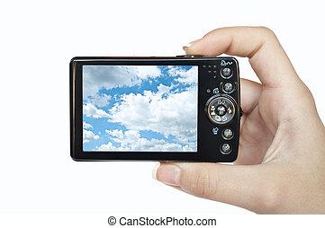 照片照像機, 在, 手, 被隔离, 在懷特上, 背景, 由于, 圖片, ......的, 天空