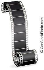 照片, 拧, 描述, 卷, 矢量, 视频, 背景, 剥去, 白色, 或者, 电影