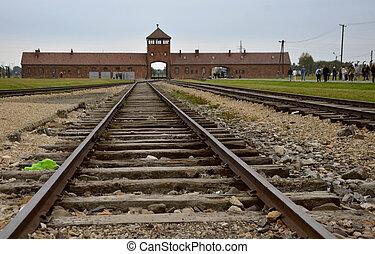 照片, 波兰, 营房, 细节, 集中, 纳粹