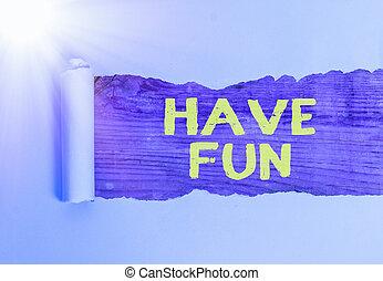 照片, amusement., 显示, 提供, 享乐, 正文, 本身, 概念性, 有, 签署, fun., 任务