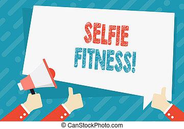 照片, selfie, 签署, 拇指, 内部, 图画, 二, 其它, 握住, 正文, 概念性, 扩音器, 体育馆,...