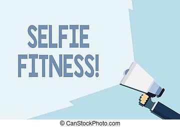 照片, selfie, range., 图画, 作品, 注意到, 握住, 扩音器, 体育馆, 本身, 商业, 测验,...