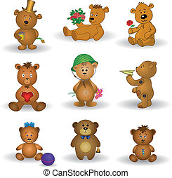 熊, おもちゃ, セット, テディ