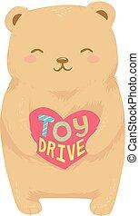 熊, おもちゃ, ドライブしなさい, 心, イラスト