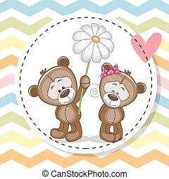 熊, カード, 挨拶, 2, テディ