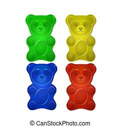 熊, セット, ゼリー