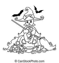 熊, テディ, ねこ, 魔女, 隔離された, 印刷, ベクトル, カボチャ, 彼の, 黒, 着色, マント, 座る, イラスト, ほうき, bats., バックグラウンド。, ハロウィーン, 白, 手, 帽子, page., 本
