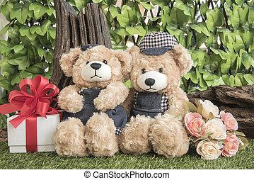 熊, バラ, 恋人, プレゼント, テディ