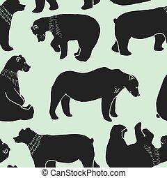 熊, パターン, ベクトル, seamless