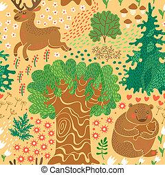 熊, パターン, woods., seamless, 鹿