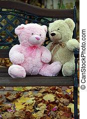 熊, ベンチ, 2, テディ
