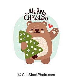熊, ホリデー, 碑文, 幸せ, かわいい