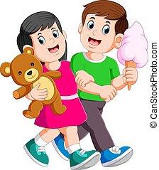 熊, 女性, 手, 若い, 費やしなさい, ロマンチック, 間, 恋人, 手掛かり, テディ