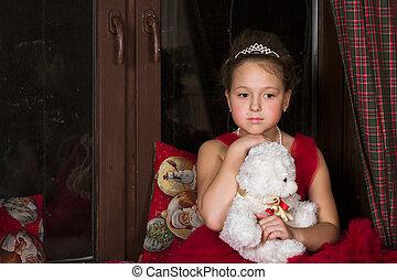 熊, 思いやりがある, 抱き合う, 女の子, 服, プラシ天, 赤