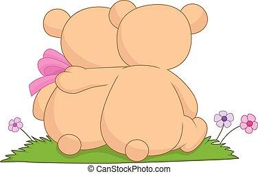 熊, 恋人, 漫画, 抱き合う