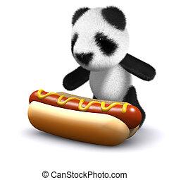 熊, 愛, 赤ん坊, 3d, パンダ, hotdogs