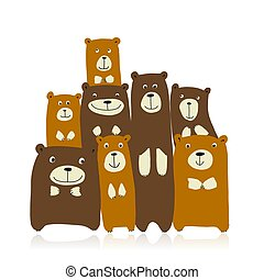熊, 面白い, デザイン, 家族, スケッチ, あなたの