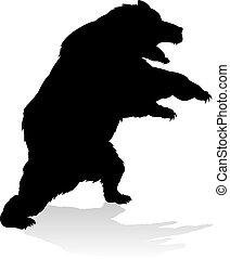 熊, grizzly, シルエット