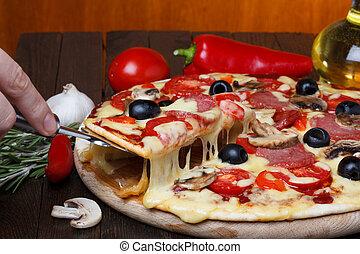 熔化, 乳酪, 熱, 起重者, 新鮮, 比薩餅