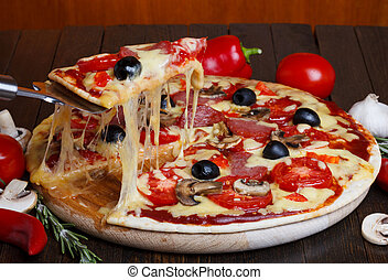 熔化, 舉起, 薄片, 乳酪, 熱, 比薩餅