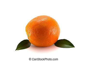 熟した, オレンジ, ∥で∥, 葉, 白, 背景
