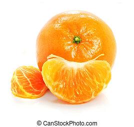 熟した, 食物, 隔離された, フルーツ, 背景, 白, mandarine