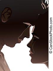 熟考すること, について, ぐっと近づいて, シルエット, 関係, 恋人, 閉じられた目, 愛