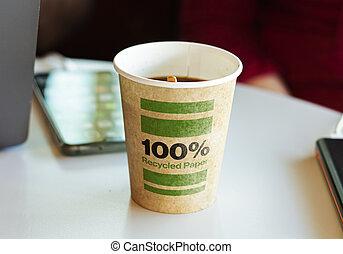 熱い コーヒー, ペーパー, break., 容器, リサイクルされる, 含んでいること