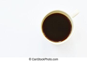 熱い コーヒー, 白いコップ, 背景, 黒