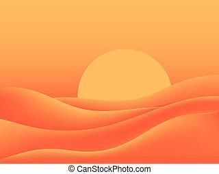 熱くて焦げる, イラスト, dunes., 砂, ベクトル, sun., 砂漠, 風景