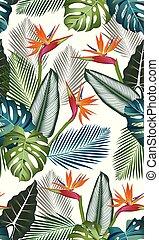 熱帯のリーフ, パターン, -, seamless, paradise:, swimwear, 葉, monstera,...