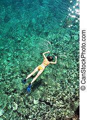熱帯の女性, 明確な 水, 水晶, snorkeling