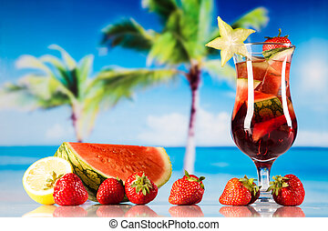 熱帯の飲み物, 上に, 浜