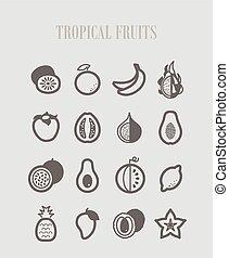 熱帯 フルーツ, セット, アイコン