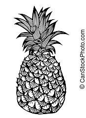 熱帯 フルーツ, pineapple.