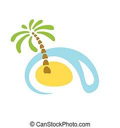 熱帯 島, やし, sea., ロゴ