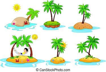 熱帯 島, セット, 漫画, コレクション