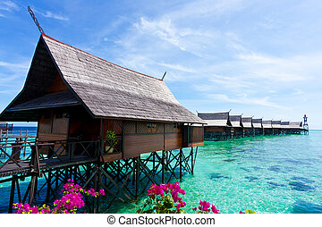 熱帯 島, 作られた, 人, リゾート