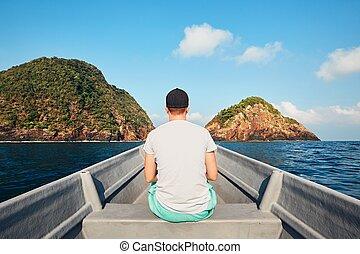 熱帯 島, 旅行, ボート, 人