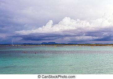 熱帯 嵐, 到来, 中に, ∥, sea.