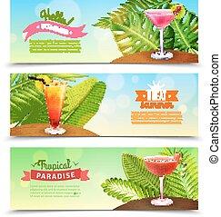 熱帯 楽園, 休暇, 3, 旗, セット